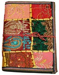 Cahier, couverture patchwork textile (23x16, jaune-orange)