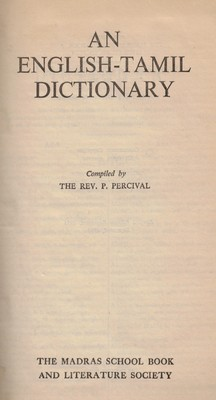 [Tamoul] Percival's English-Tamil Dictionnary (lexique) [OCCASION]